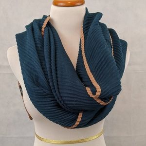 Pleated Teal Scarf with Camel Accent